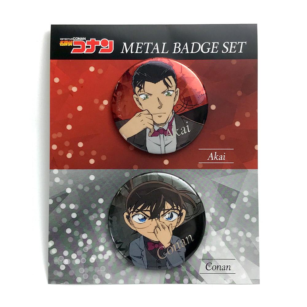 名探偵コナンプラザ2021メインビジュアル コナン&赤井 メタル缶バッジセット