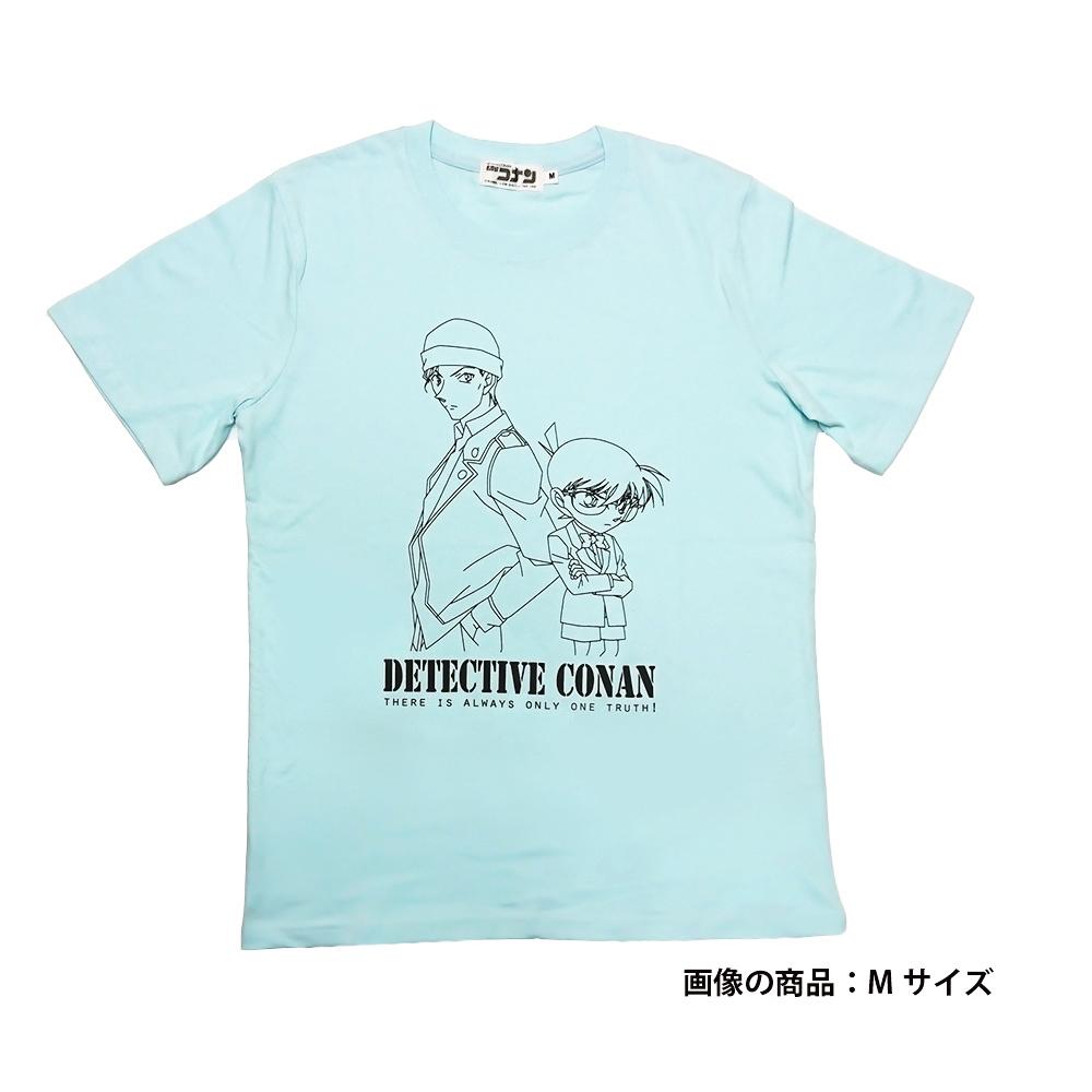 赤井&コナン柄半袖Tシャツ サックス M