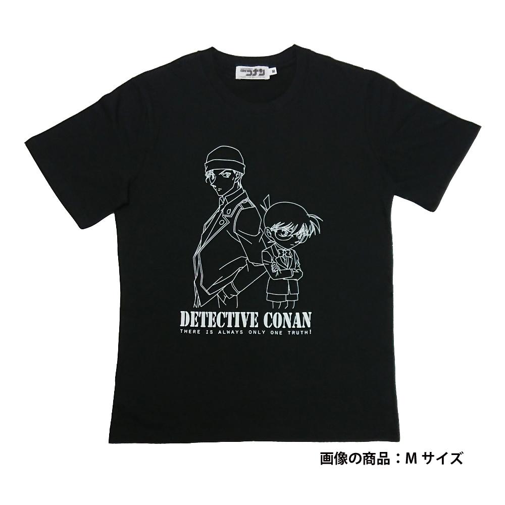 赤井&コナン柄半袖Tシャツ ブラック L